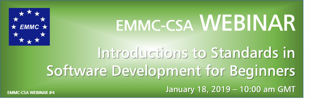 "EMMC-CSA WEBINAR ""Introductions to Standards in Software Development for Beginners"""