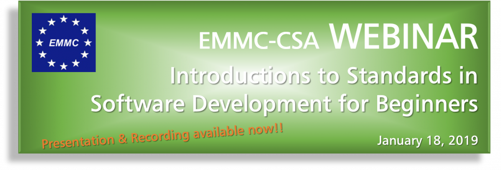 EMMC Webinar Introduction to Standards in Software Development for Beginners - Presentation & Recording