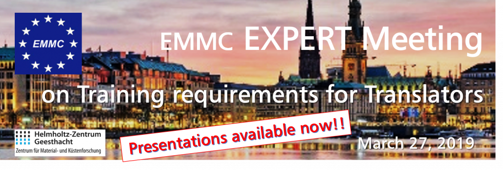EMMC Expert Meeting on Training requirements for Translators - PRESENTATIONS AVAILABLE