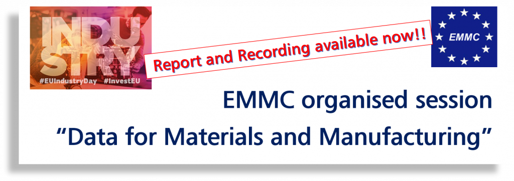 "EU Industry Days 2019 - Report on EMMC organised session ""Data for Materials and Manufacturing"""
